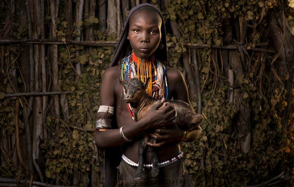 Картинка девочка, Африка, козлёнок, Эфиопия, Ethiopia