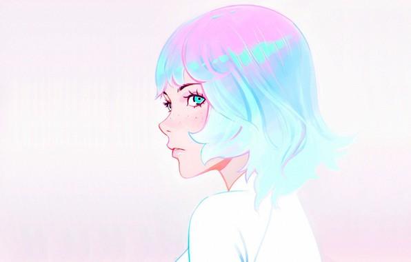 Картинка стрижка, веснушки, профиль, голубые волосы, челка, портрет девушки, Илья Кувшинов