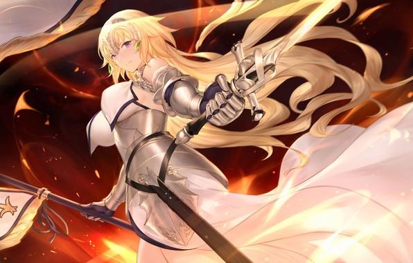 Картинка девушка, Флаг, Меч, Fate / Grand Order