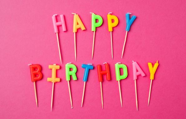 Картинка буквы, свечи, colorful, Happy Birthday, celebration, candles, decoration, letters, День Рождения
