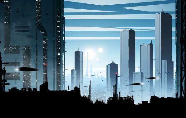 Картинка город, будущее, человек, силуэт, by kvacm