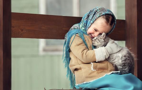 Картинка кот, счастье, девочка, друзья