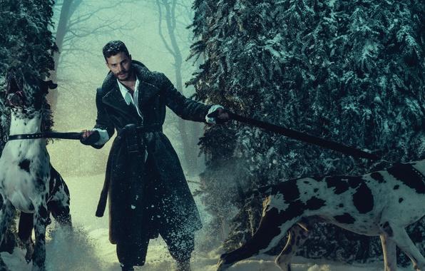 Фото обои лес, фотосессия, поводки, 2016, Джейми Дорнан, L'Uomo Vogue, актер, Jamie Dornan, деревья, зима, собаки, снег, ...