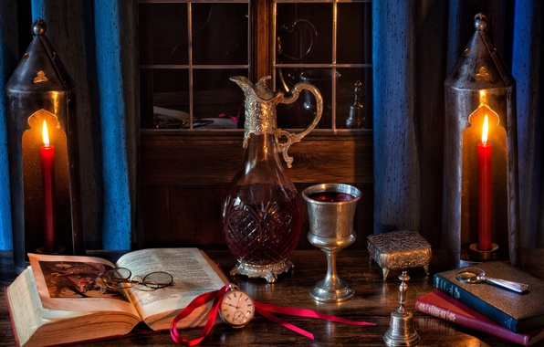 Картинка стиль, вино, часы, бокал, книги, свечи, очки, колокольчик, графин