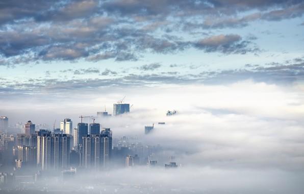 Картинка небо, город, туман