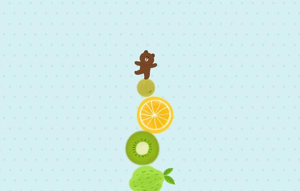 Картинка аниме, арт, мишка, фрукты, башенка, комодо