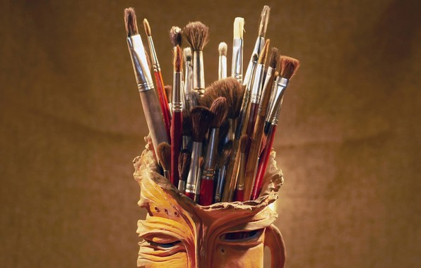 Фото обои фон, живопись, кисти, набор художника, глиняная кружка