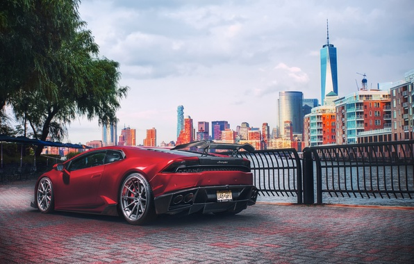 Фото обои Huracan, light, New Jersey, Lamborghini, red, New York