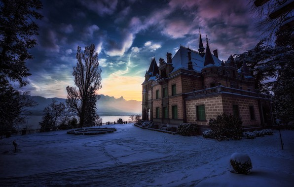 Картинка зима, горы, замок, Швейцария, Switzerland, Hunegg Castle Hilterfingen