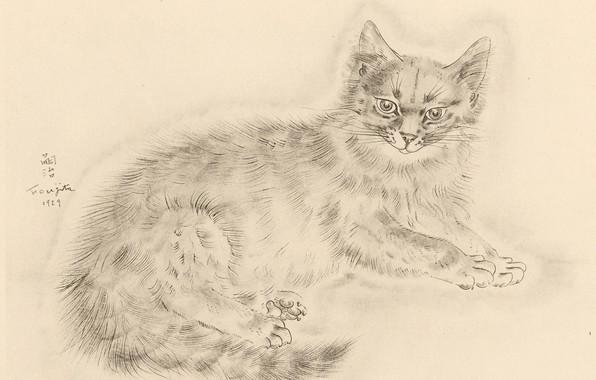 Картинка взгляд, лапки, хвост, пушистая, 1929, Tsuguharu Foujita, Книга Кошек
