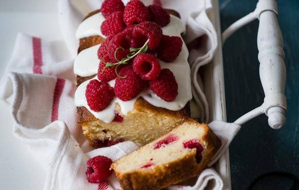 Фото обои ягоды, малина, поднос, кекс