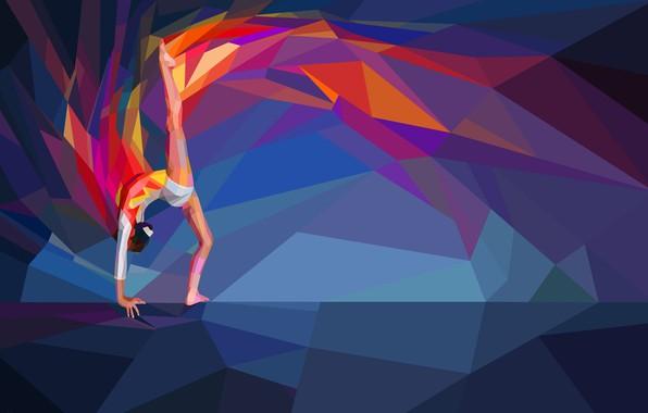 Картинка гимнастика, спортсменка, гимнастка, low poly