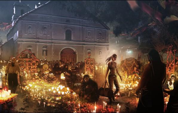 Картинка девушка, ночь, люди, здание, Shadow of the Tomb Raider