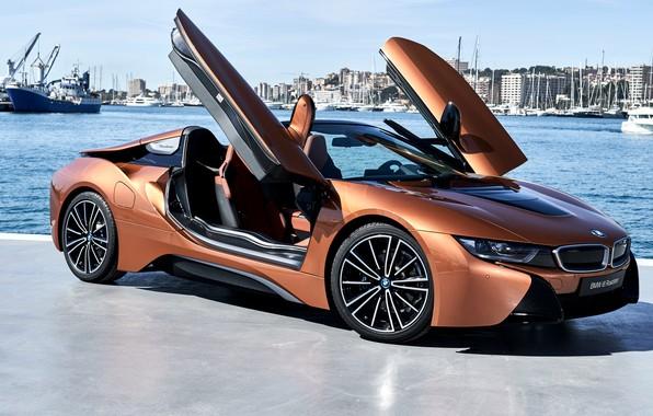 Картинка Roadster, вид сбоку, гавань, 2018, BMW i8
