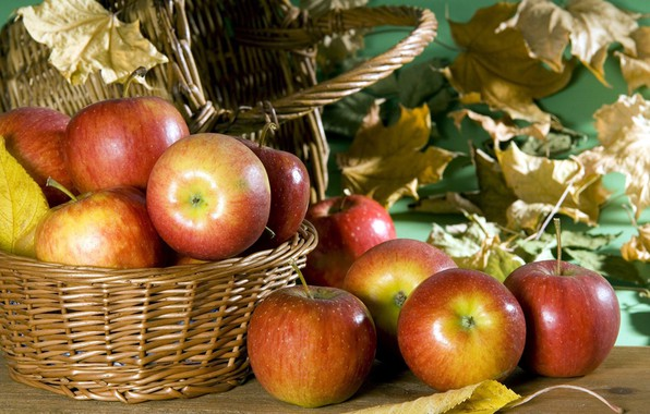 Картинка осень, красные, Яблоки