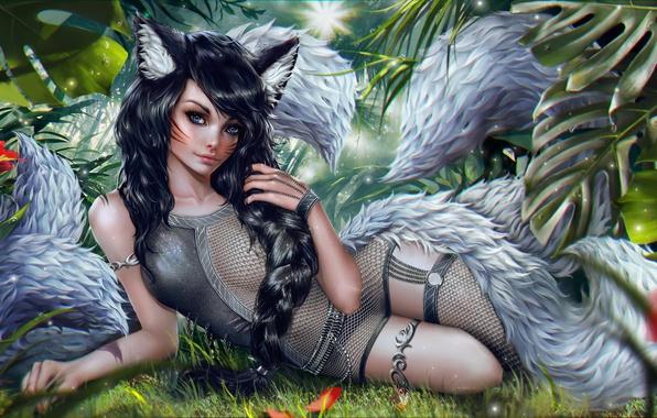 Картинка Девушка, Эльфийка, Art, League of Legends, Ahri, Nine-Tailed Fox