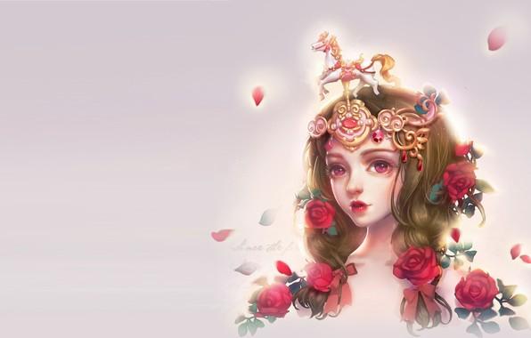 Картинка девушка, цветы, роза, аниме, арт, Collection, milkyu dong