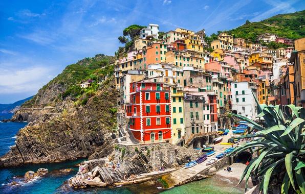 Картинка море, скалы, побережье, вилла, Италия, домики, Riomaggiore, travel