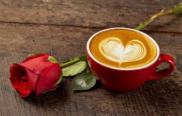 Картинка любовь, сердце, кофе, розы, бутон, чашка, red, love, rose, красная роза, капучино, heart, wood, cup, …