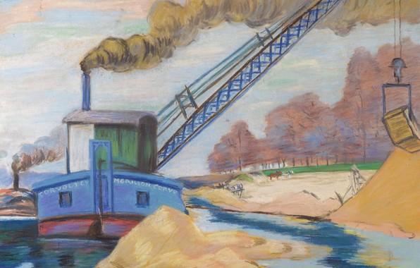 Картинка картина, индустриальный пейзаж, Арман Гийомен, Armand Guillaumin, Песчаный Карьер