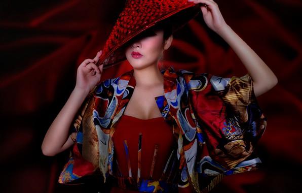 Картинка поза, стиль, модель, шляпа, руки, азиатка