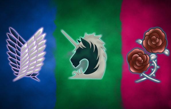 Картинка wallpaper, logo, game, anime, wings, asian, roses, manga, unicorn, japanese, oriental, asiatic, Attack on Titan, …