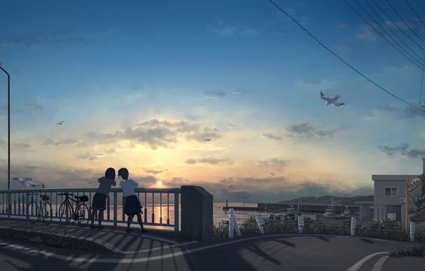 Картинка велосипед, провода, чайки, столб, горизонт, фонарь, городок, подруги, на мосту, две девочки, закат на море