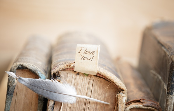 Картинка перо, книги, love, vintage, i love you, heart, romantic, book