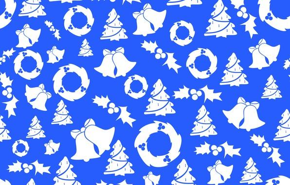Картинка фон, текстура, Рождество, Новый год, колокольчики, ёлки, венки