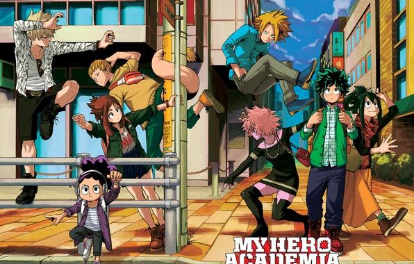 Картинка city, anime, hero, manga, powerful, strong, yuusha, student, Boku no Hero Academia, My Hero Academia