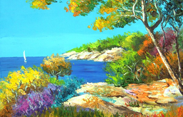 Картинка море, пейзаж, берег, арт, художник, импрессионист, jean marc janiaczyk