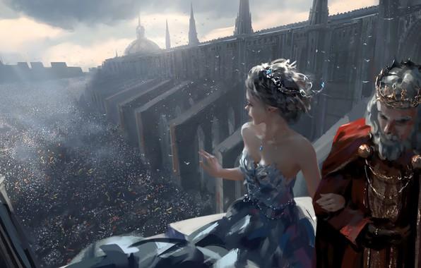 Картинка girl, fantasy, party, cathedral, dress, crown, man, crowd, elf, digital art, artwork, princess, fantasy art, ...