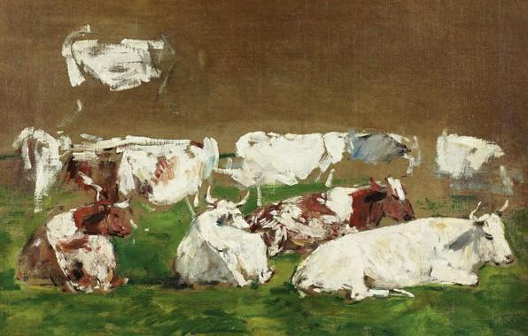 Картинка животные, картина, Коровы, Эжен Буден, Eugene Boudin