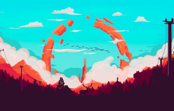 Картинка Горы, Башня, Игра, Дым, Лес, Вид, Птицы, Холмы, Олень, Пейзаж, Арт, Campo Santo, Firewatch, Пожарный …
