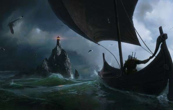 Картинка the witcher, Fantasy, Games, sea, art, boat, lighthouse, Painting, Jeremy Paillotin