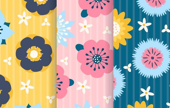 Картинка желтый, фон, розовый, голубой, текстура, цветочки