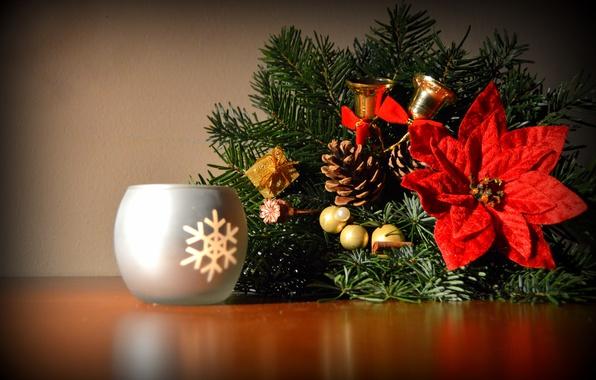 Фото обои декор, ветки, колокольчики, свеча, новый год, хвоя, цветок, шишки, пуансеттия