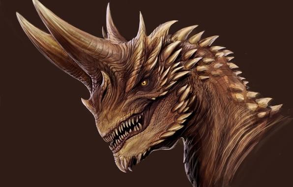 Картинка дракон, клыки, рога