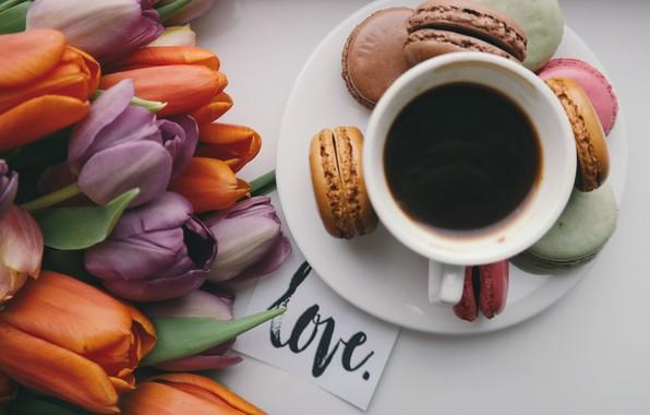 Картинка кофе, букет, печенье, coffee, macaron, миндальное