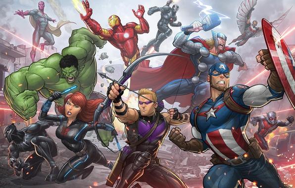 Картинка фантастика, фильм, Халк, Железный человек, art, Капитан Америка, супергерои, Мстители, Черная Вдова, Avengers, Patrick Brown, …