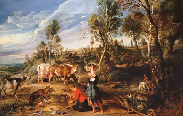 Картинка животные, картина, коровы, Питер Пауль Рубенс, Pieter Paul Rubens, Пейзаж с Доярками, Ферма в Лакене