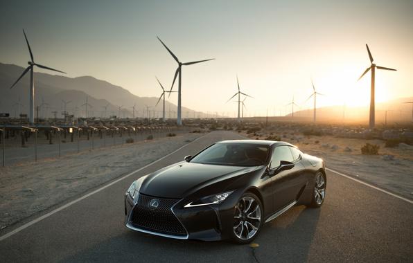 Фото обои LC 500, фотограф, дорога, Lexus, солнце, Larry Chen