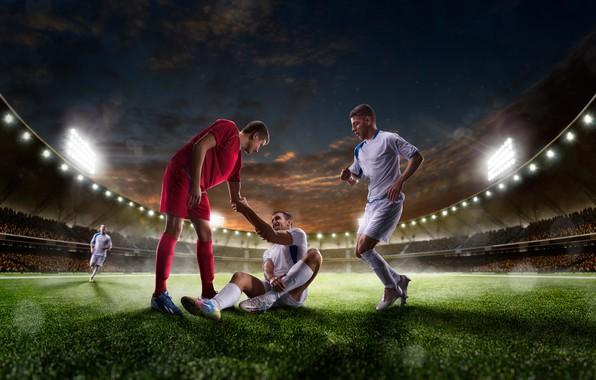 Картинка поле, небо, трава, ночь, огни, газон, футбол, униформа, трибуны, стадион, спортсмены, прожектора, футболисты