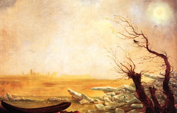 Картинка солнце, Карл Густав Карус, Романтизм, Немецкая школа живописи, Лодка в ледяных плавучих льдинах