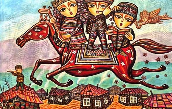 Картинка звезды, дети, конь, дома, Родина, Севада Григорян
