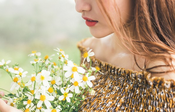 Картинка девушка, цветы, настроение, букетик
