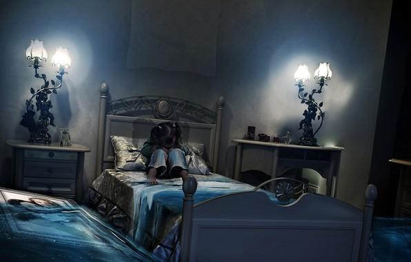 Картинка комната, кровать, картина, наводнение, девочка, BossLogic, PRINT, Million Tears
