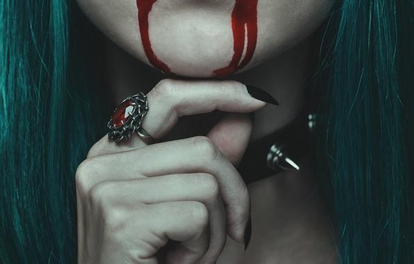 Картинка blood, lips, ring, vampire, female