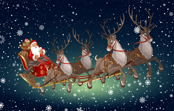 Картинка Зима, Минимализм, Снег, Фон, Новый год, Санта, Праздник, Олени, Дед Мороз, Настроение, Сани