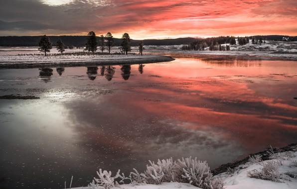 Картинка зима, закат, природа, река